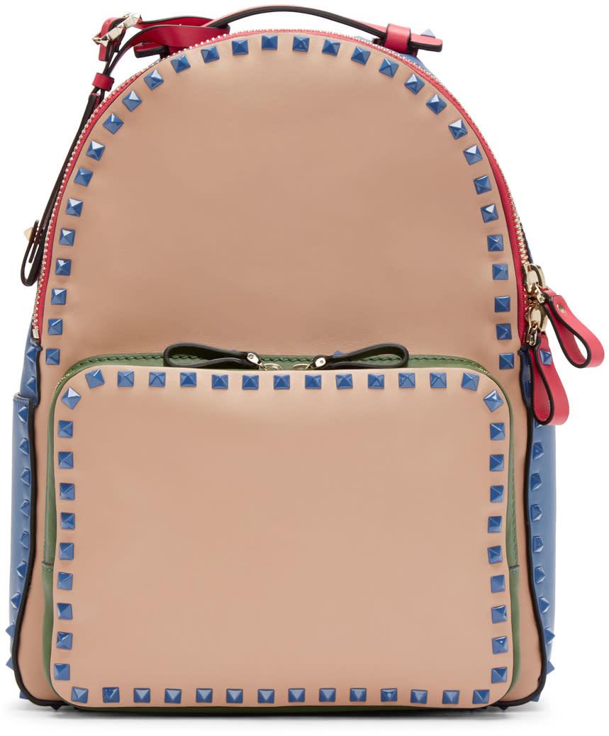 Valentino Multicolor Rockstud Medium Backpack