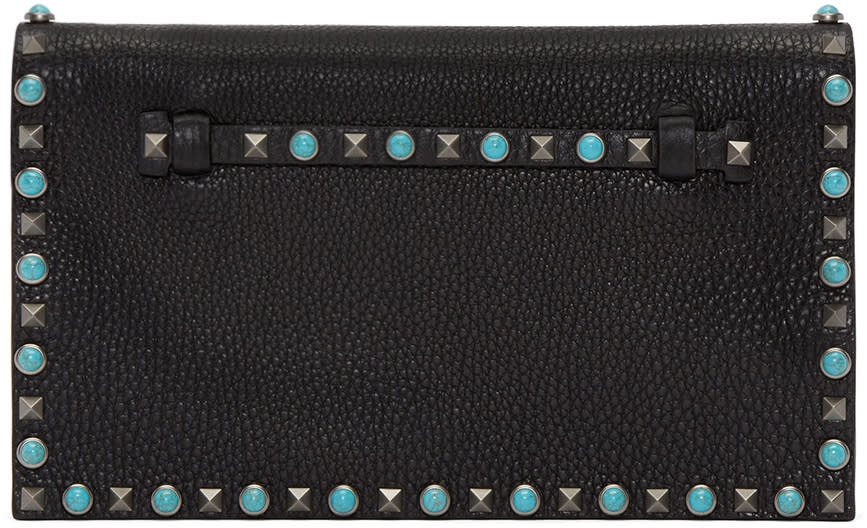 Valentino Black Stone and Rockstud Clutch