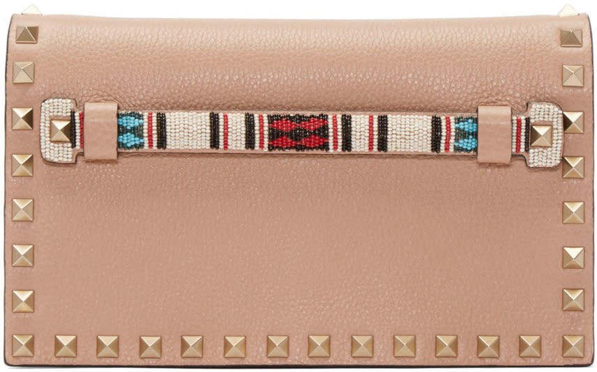 Valentino Brown Beaded Rockstud Clutch