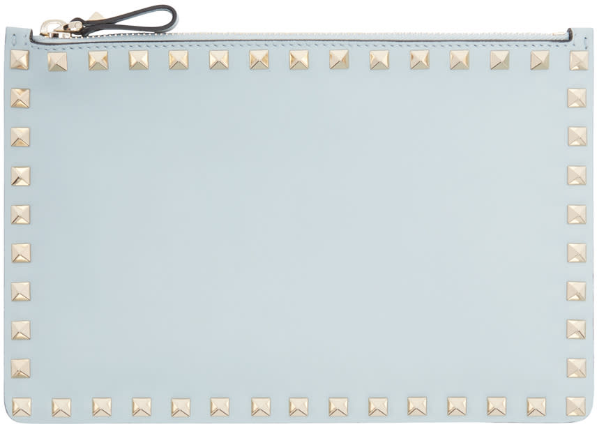 Valentino Blue Leather Rockstud Pouch