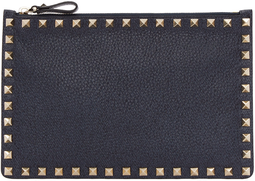 Valentino Navy Leather Rockstud Pouch