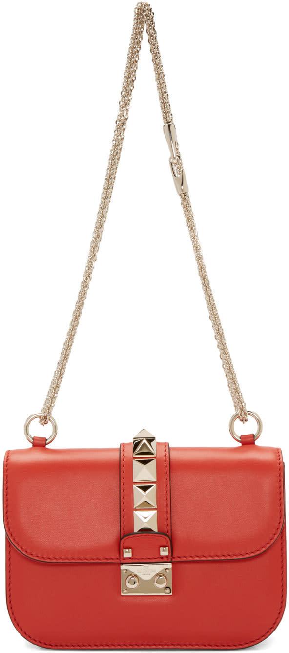 Valentino Red Small Rockstud Chain Lock Bag