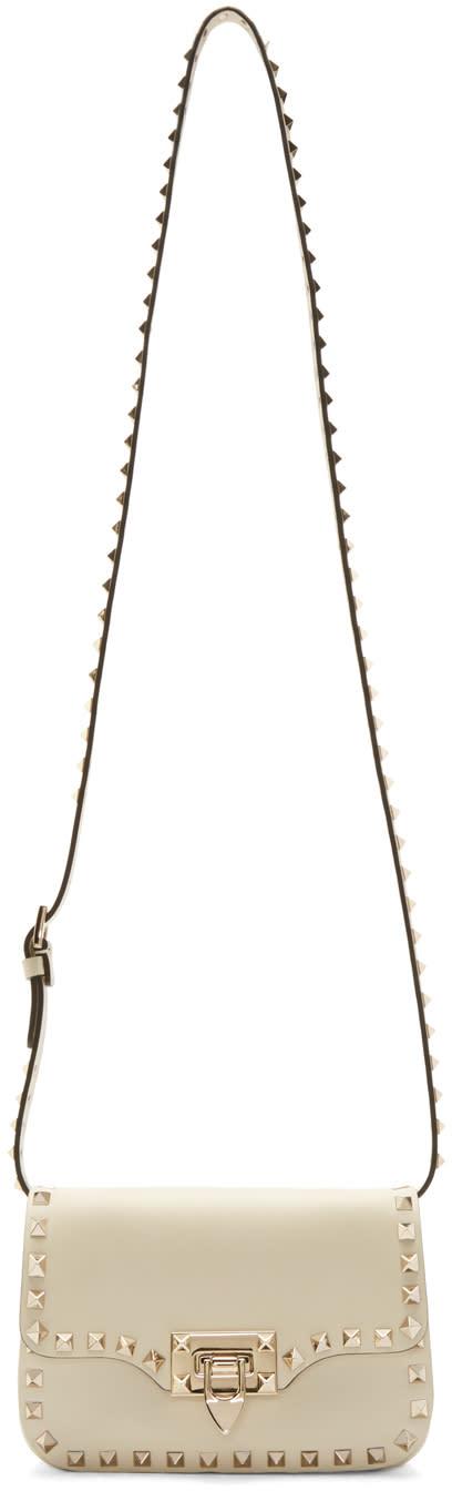 Valentino Ivory Rockstud Clasp Shoulder Bag