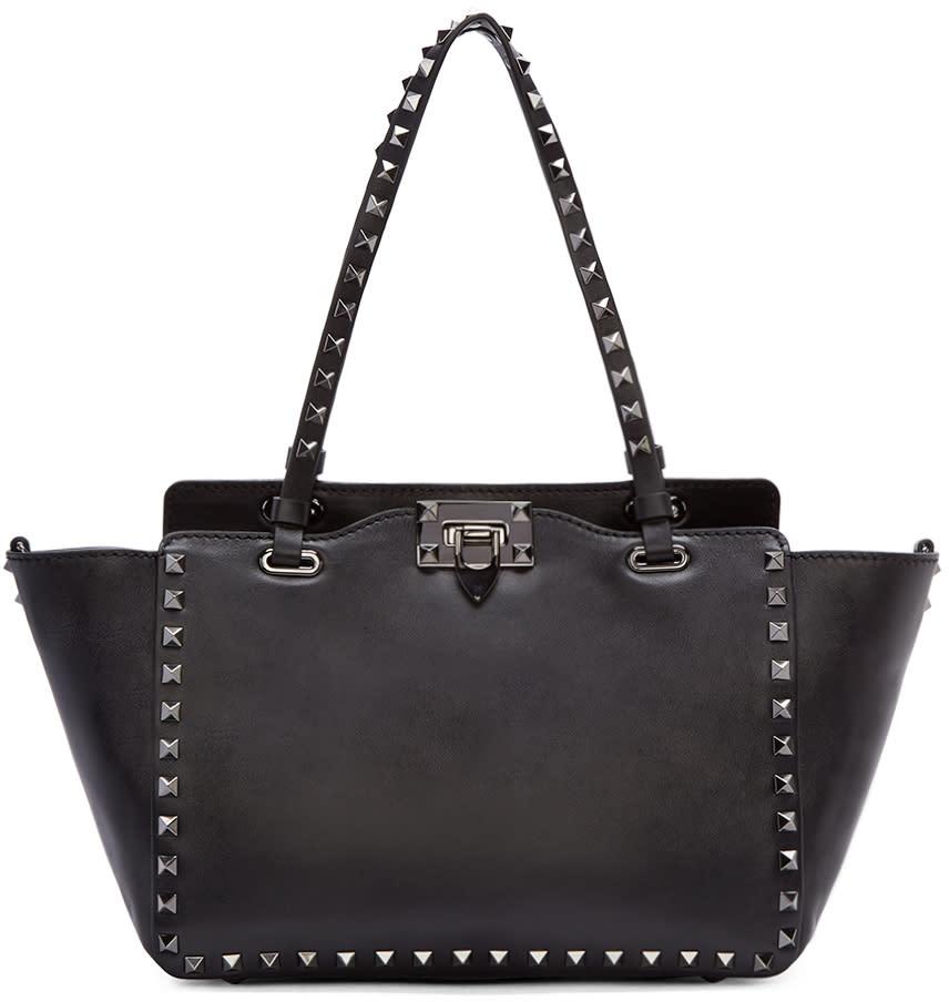 Valentino Black Leather Small Rockstud Tote