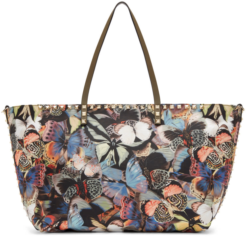 Valentino Multicolor Butterfly Camouflage Tote