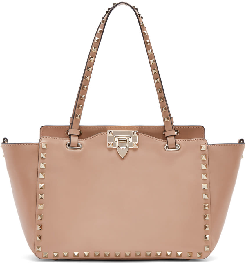 Valentino Pink Leather Small Rockstud Tote
