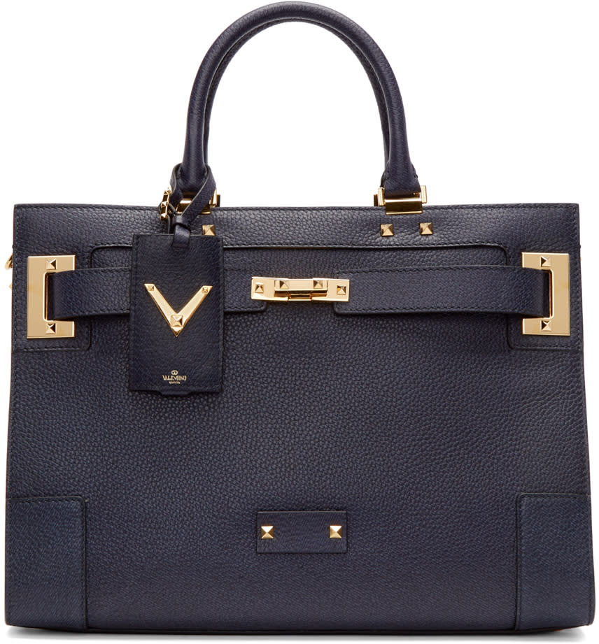 Valentino Navy Leather Large Tote