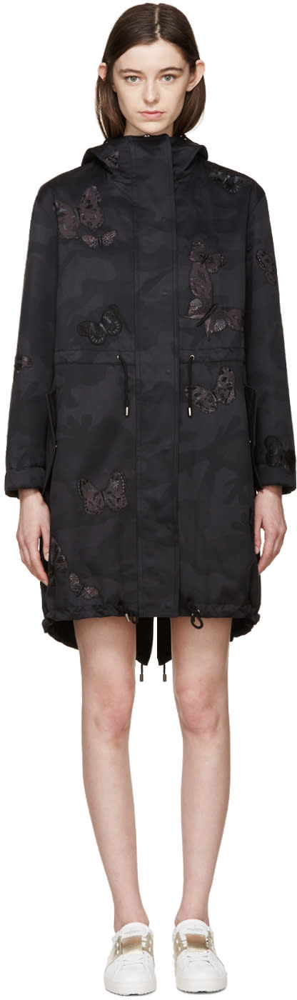 Valentino Black Butterfly Camo Coat