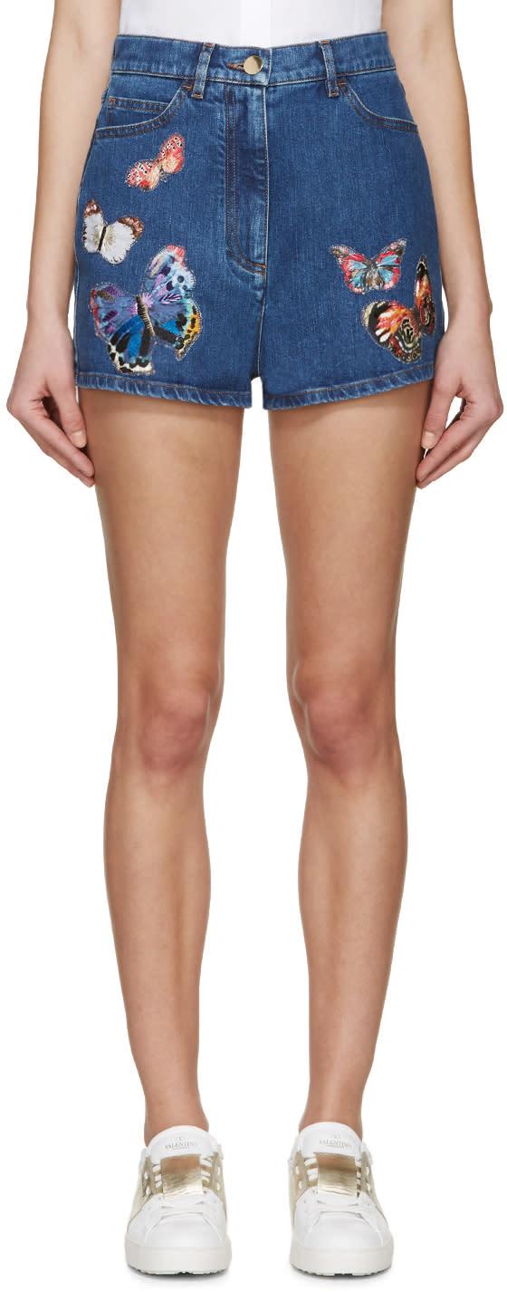 Valentino Blue Denim Butterfly Shorts