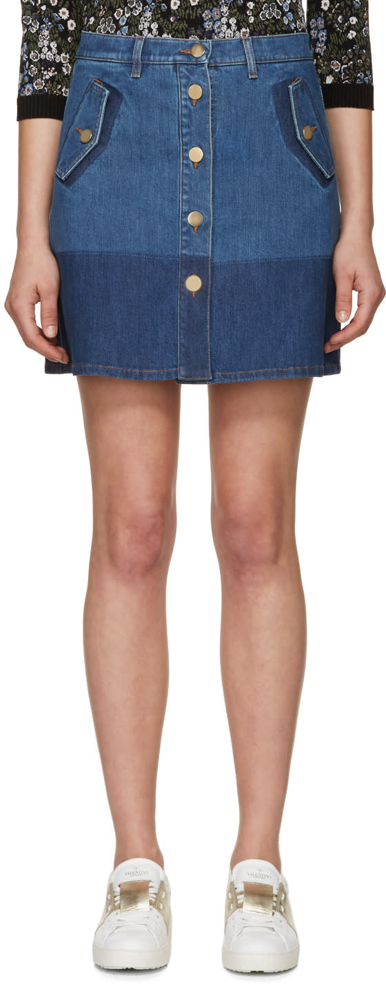Valentino Blue Denim Miniskirt