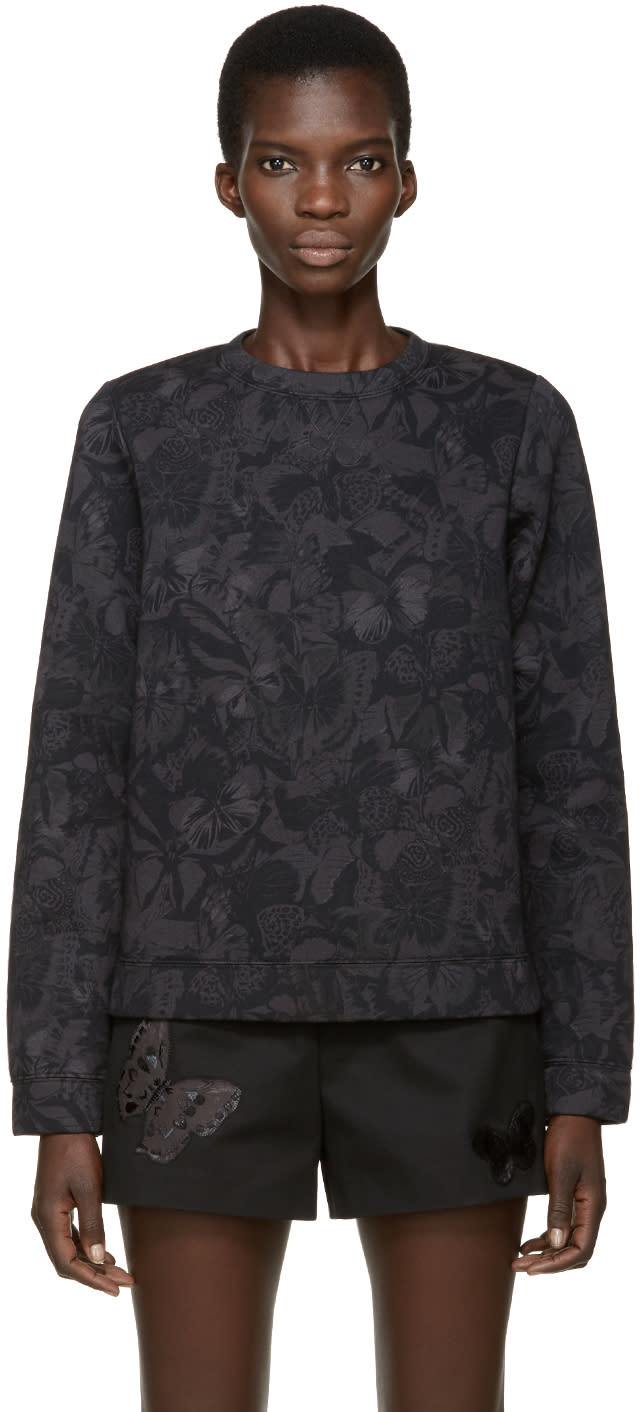 Valentino Black and Grey Neoprene Butterfly Pullover