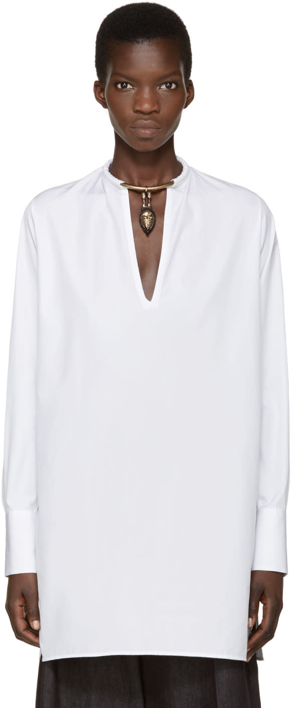 Valentino White Poplin Warrior Collar Tunic