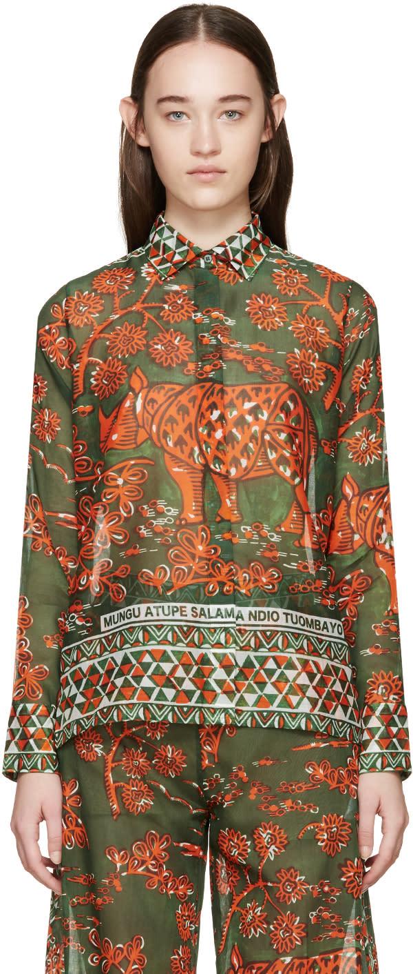 Valentino Green and Orange Rhino Shirt