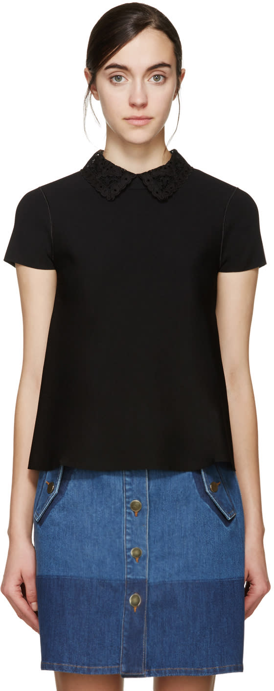 Valentino Black Flared Lace Collar Top