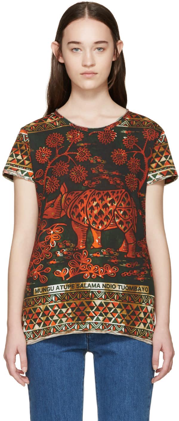 Valentino Orange and Green Rhino T-shirt