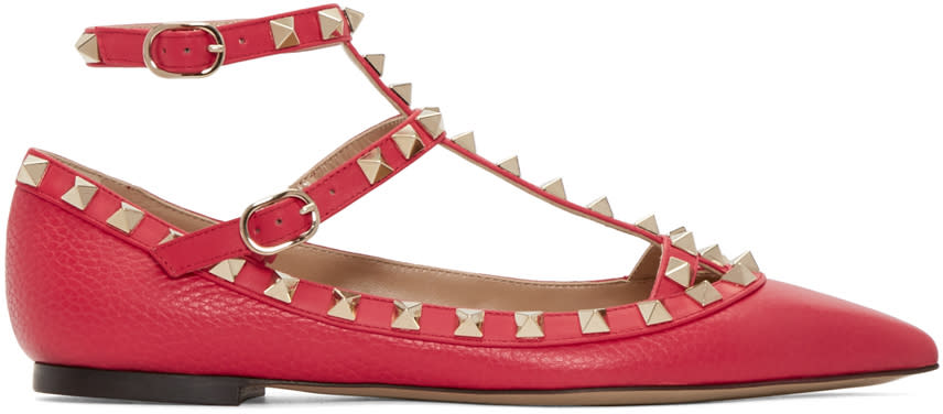 Valentino Red Rockstud Cage Flats