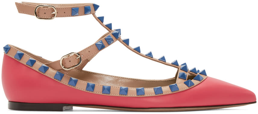 Valentino Pink and Blue Rockstud Cage Flats