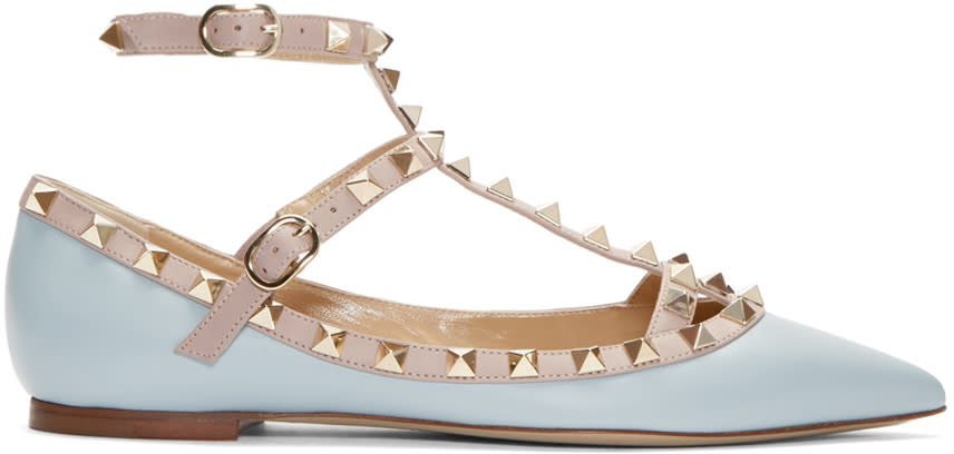 Valentino Blue and Pink Rockstud Cage Flats