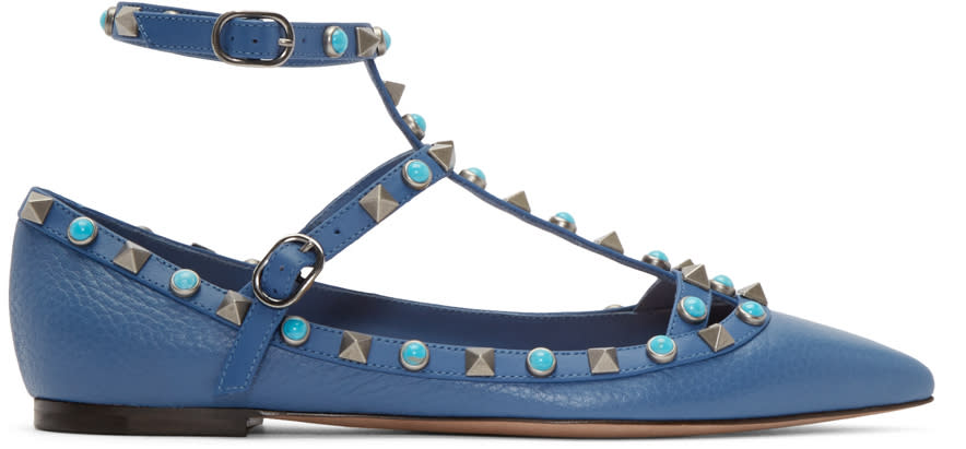 Valentino Blue Stone and Rockstud Cage Flats