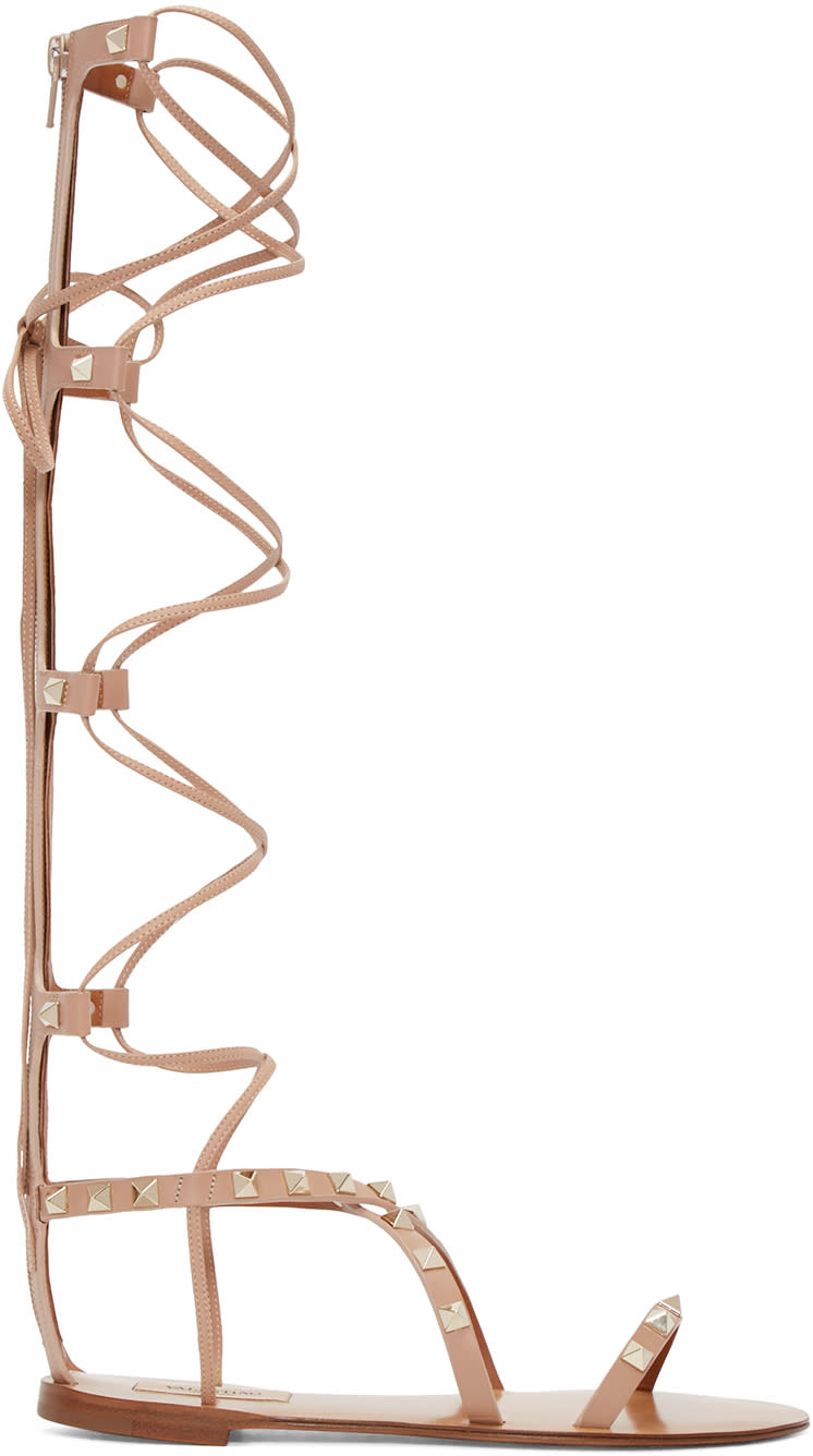 Valentino Tan Rockstud High Gladiator Sandals