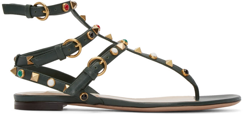 Valentino Green Stone and Rockstud Sandals