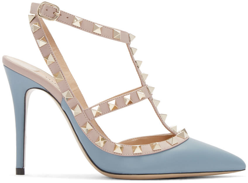 Valentino Blue and Pink Rockstud Cage Heels