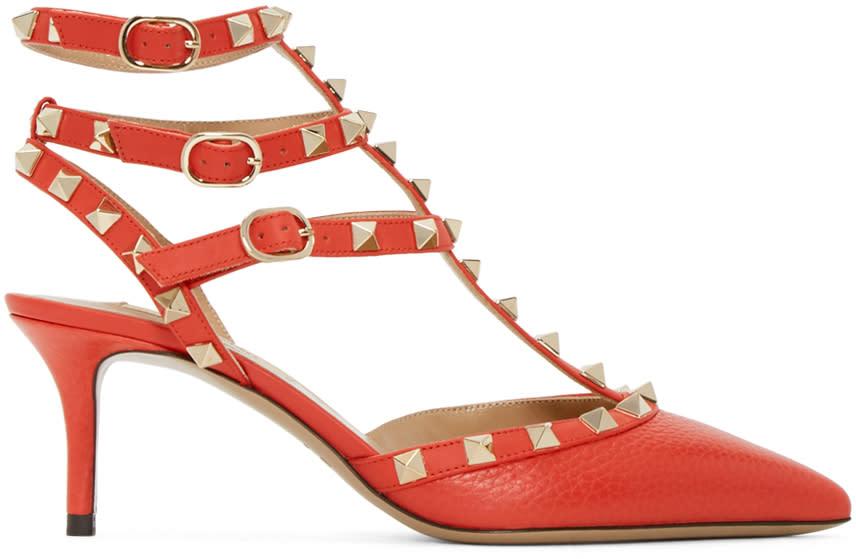 Valentino Red Rockstud Strap Cage Heels