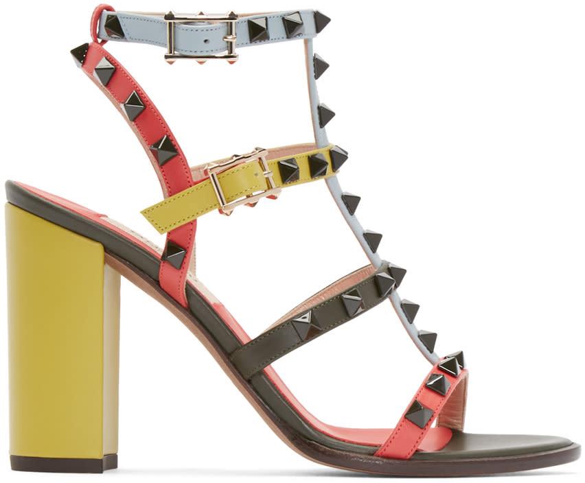 Valentino Multicolor Rockstud Cage Sandals