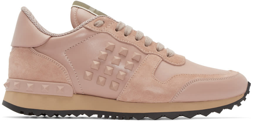 Valentino Pink Leather Rockstud Sneakers