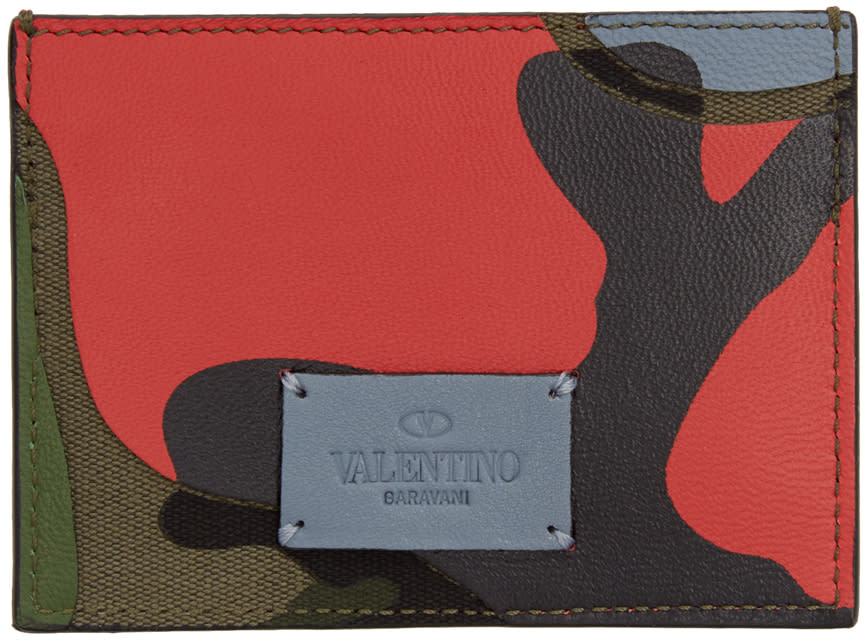 Valentino Green and Red Camouflage Card Holder