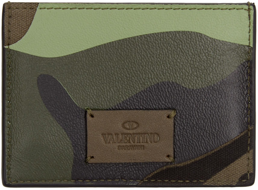 Valentino Green Camouflage Card Holder