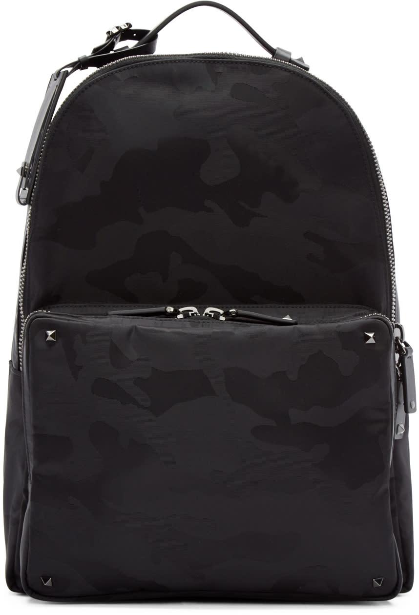 Valentino Black Jacquard Camouflage Backpack