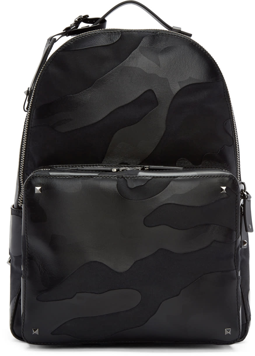 Valentino Black Leather and Canvas Camouflage Backpack