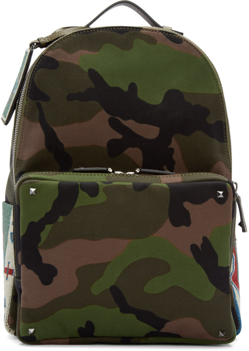 Valentino Green Canvas Beaded Camouflage Backpack