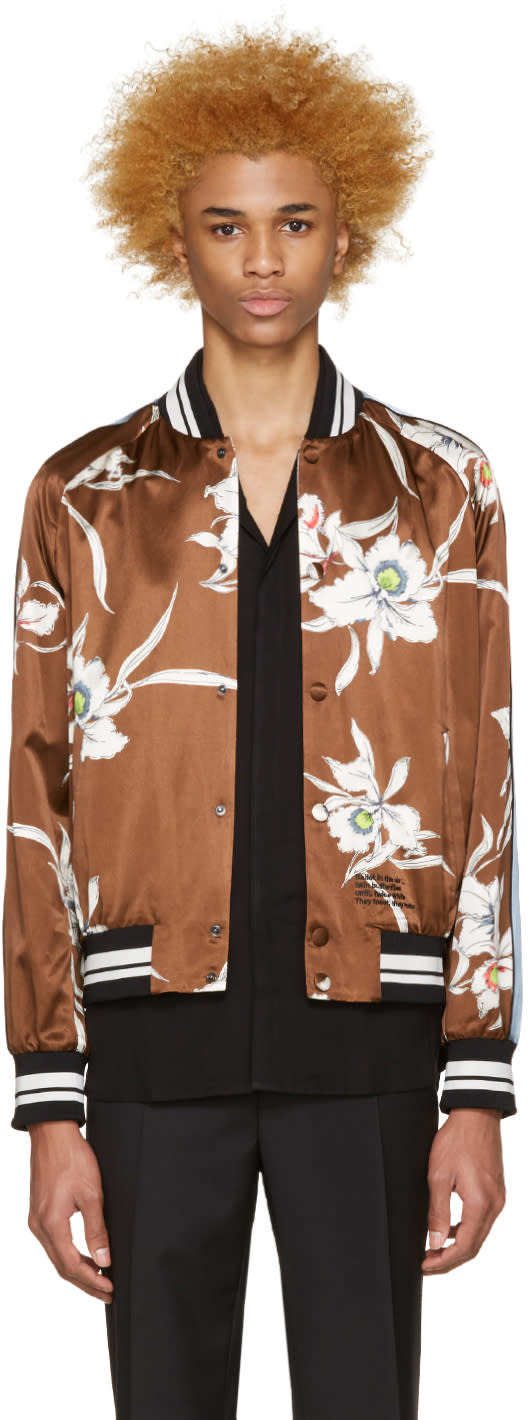 Valentino Brown Satin Bomber Jacket
