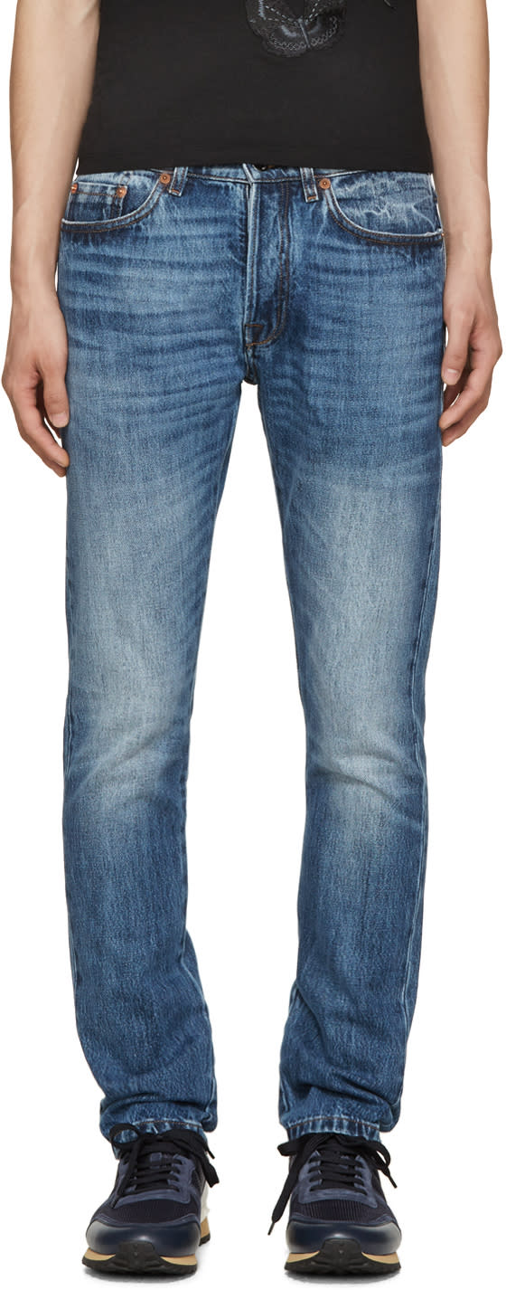 Valentino Blue Sim-fit Washed Jeans