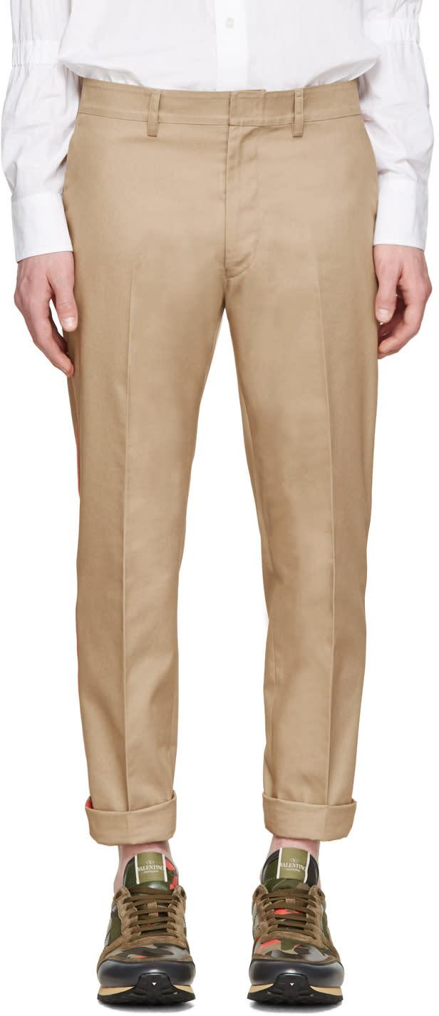 Valentino Tan and Orange Stripe Trousers