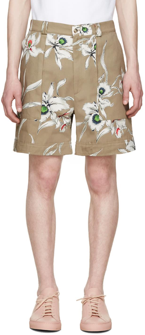 Valentino Beige Twill Flower Shorts