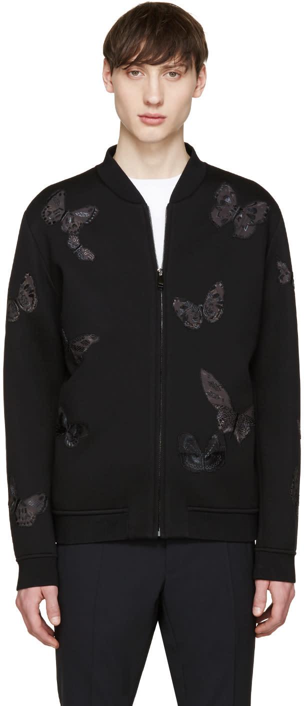 Valentino Black Neoprene Butterfly Bomber Jacket