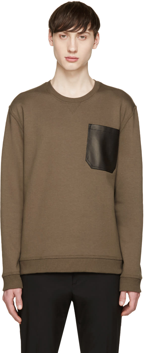 Valentino Green Leather Pocket Pullover