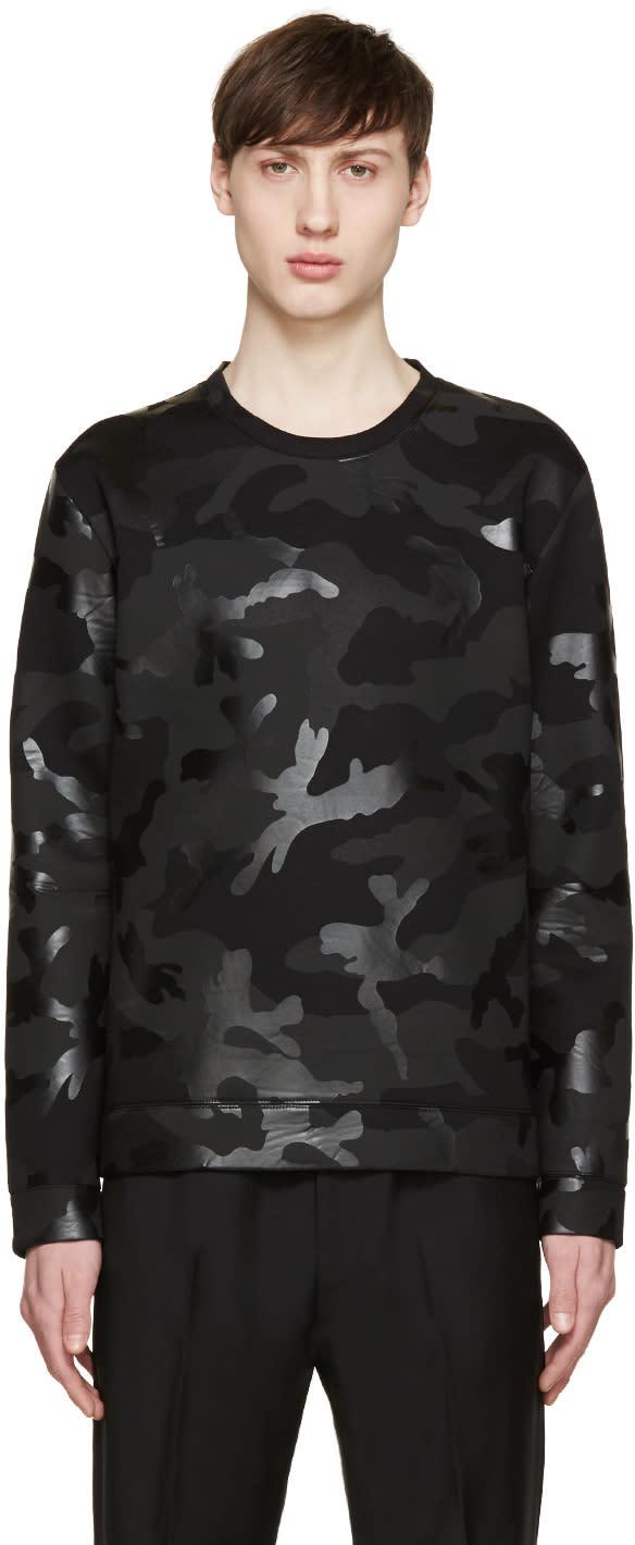 Valentino Black Neoprene Camouflage Sweatshirt