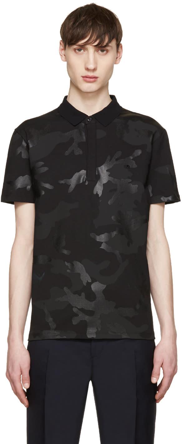 Valentino Black Camouflage Polo