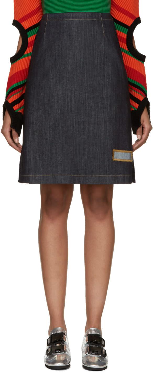 J.w. Anderson Blue Denim A-line Skirt