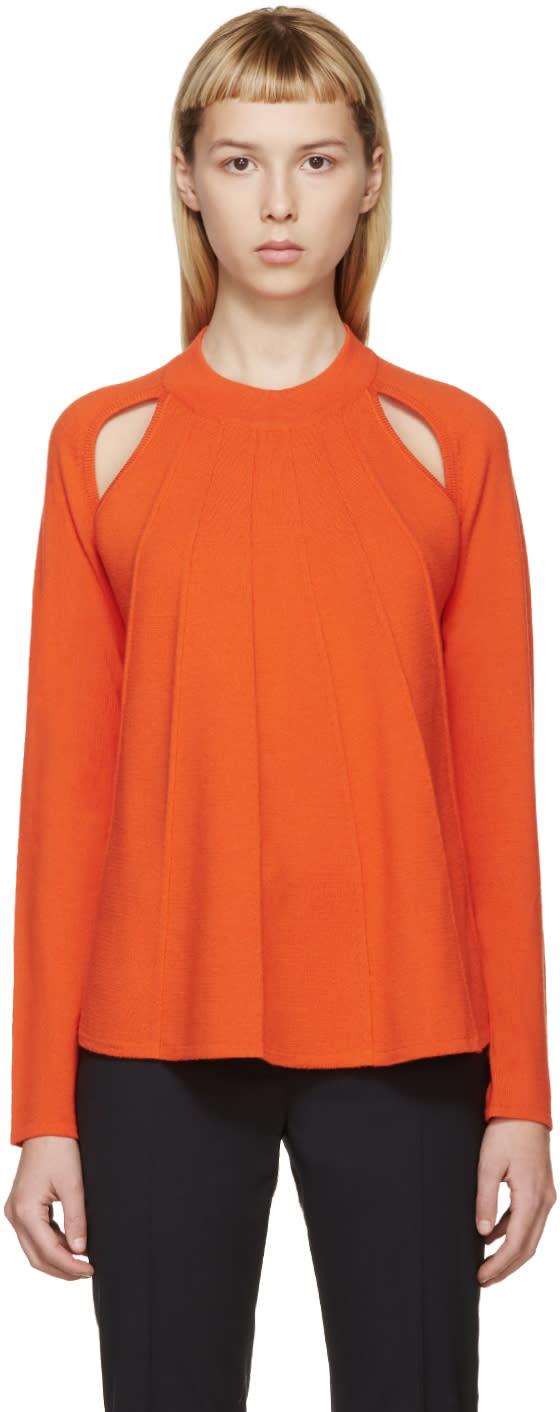 J.w. Anderson Orange Merino Flared Sweater