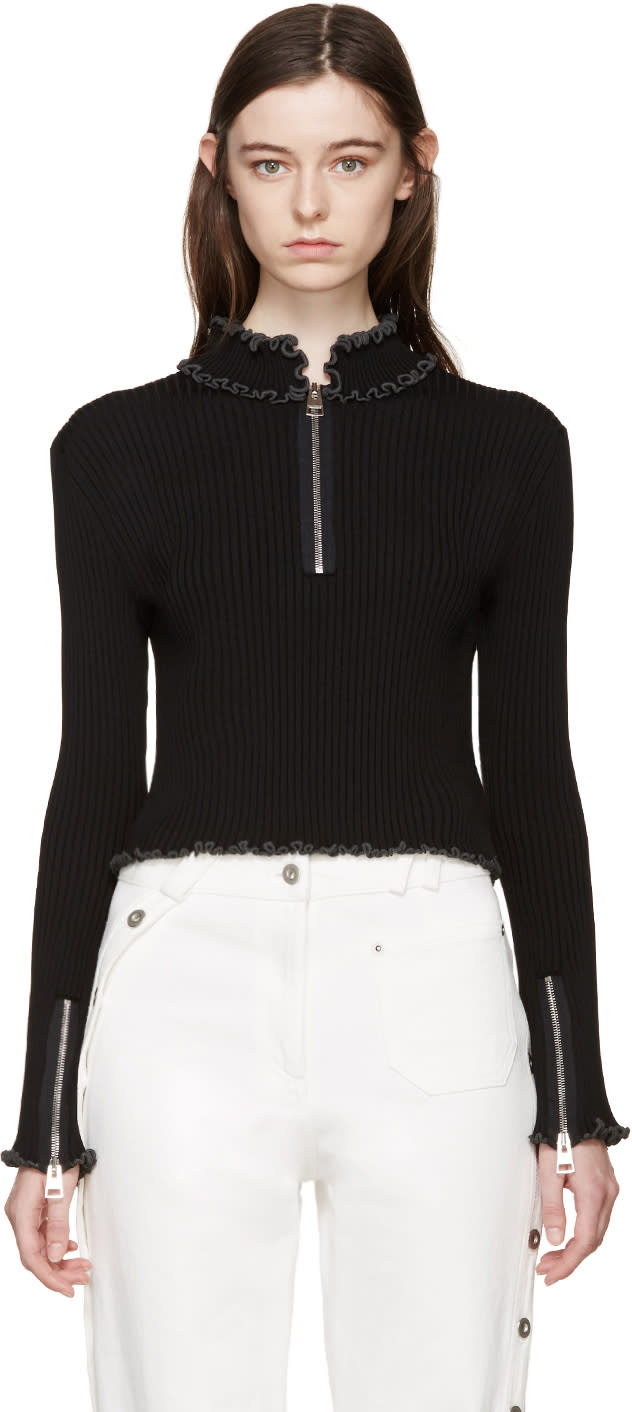 J.w.anderson Black Ruffled Collar Polo