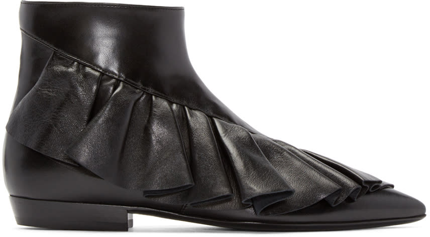 J.w. Anderson Black Ruffled Ankle Boots