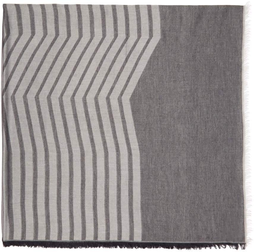 Thamanyah Indigo and Grey Striped Dune Scarf