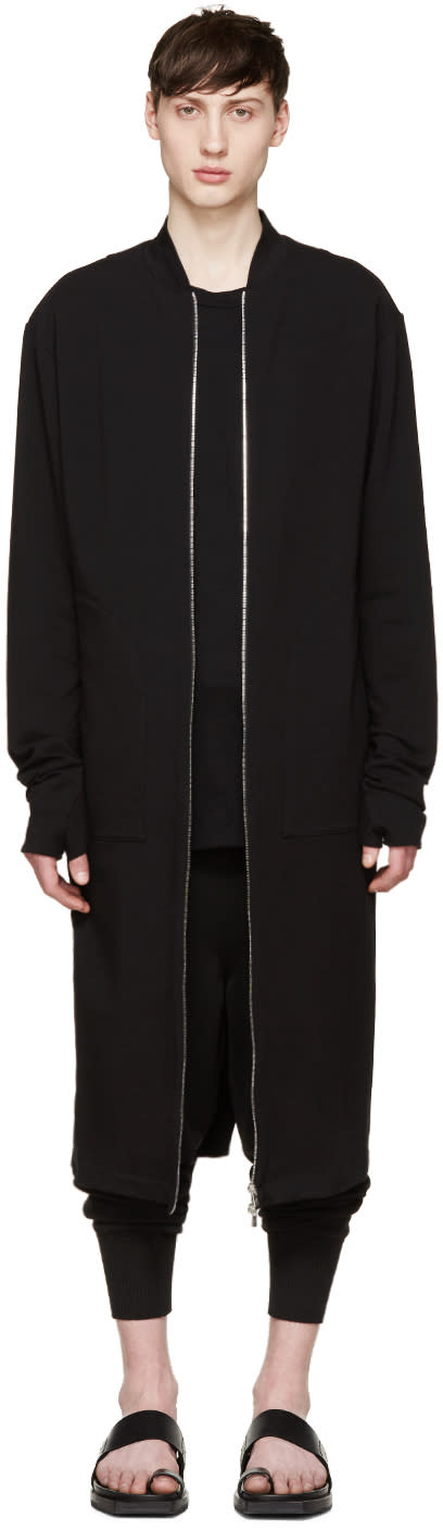 Thamanyah Black Long Jersey Coat