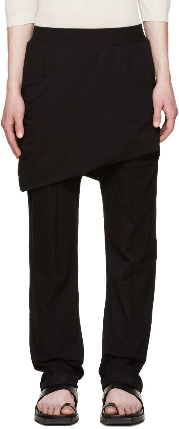 Thamanyah Black Asymmetric Razor Trousers