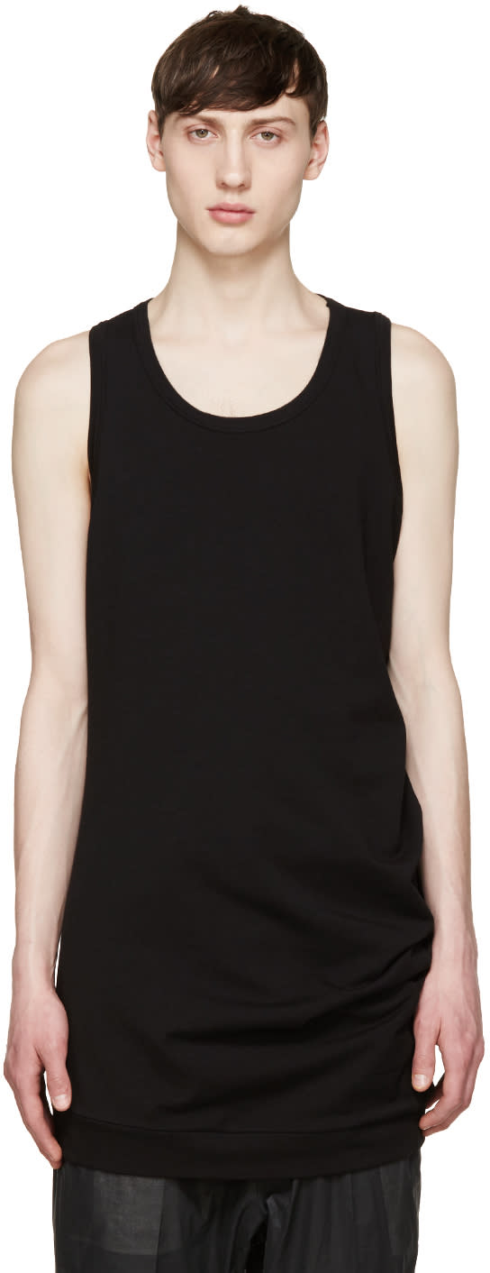 Thamanyah Black Asymmetric Tank Top